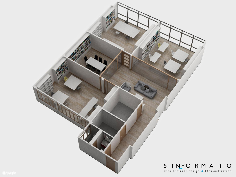 Interiorismo 3d coworking sin formato - Arquitecto de interiores ...
