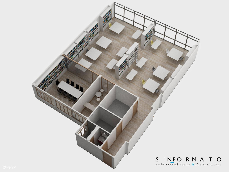 Interiorismo 3d coworking sin formato for Oficina virtual de distribucion