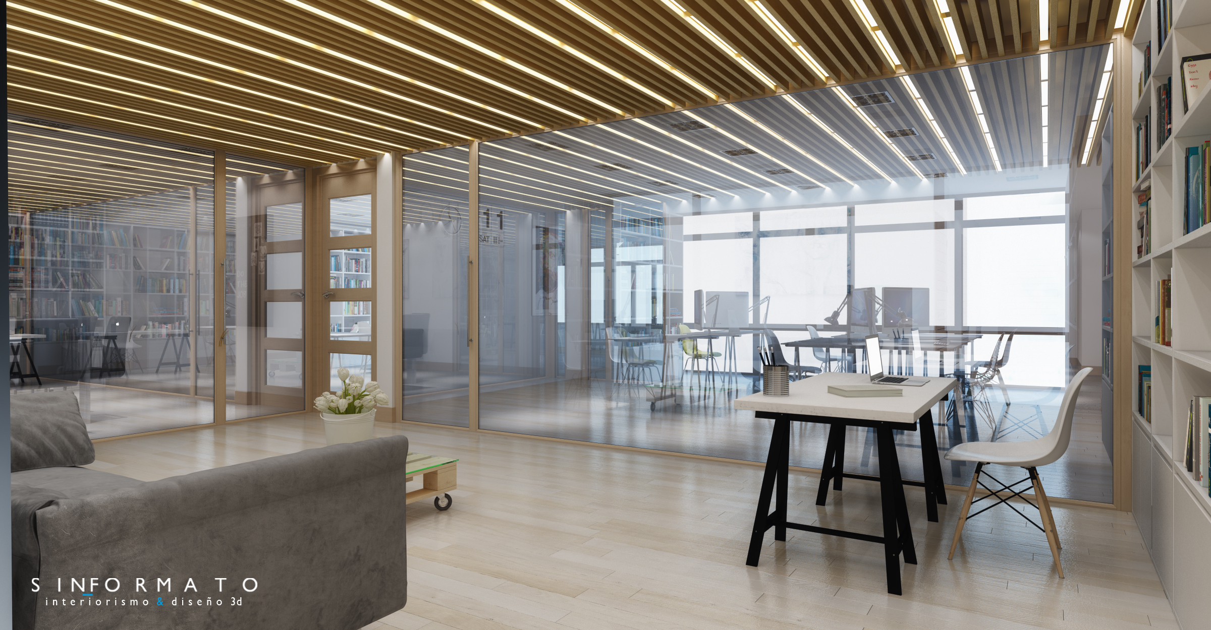Interiorismo 3d oficinas edinco sin formato for Oficinas ibercaja burgos